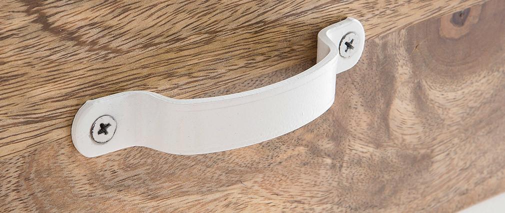 Industrielles Design-Schubladenelement PUKKA aus Mangoholz und weißem Metall