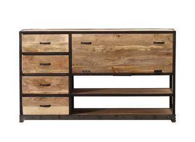 Industrielles Design-Sideboard INDUSTRIA aus Massivholz