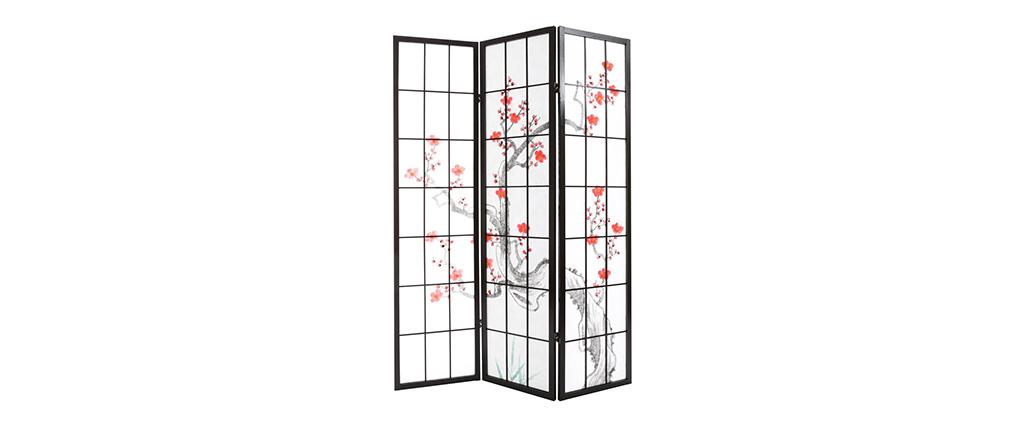 Japanischer Paravent aus schwarzem Holz und Papier SAKURA