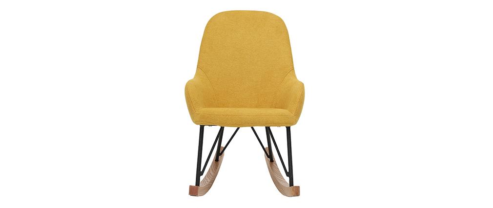 Kinder-Schaukelstuhl Velours-Stoff Gelb Beine aus Metall und Esche JHENE