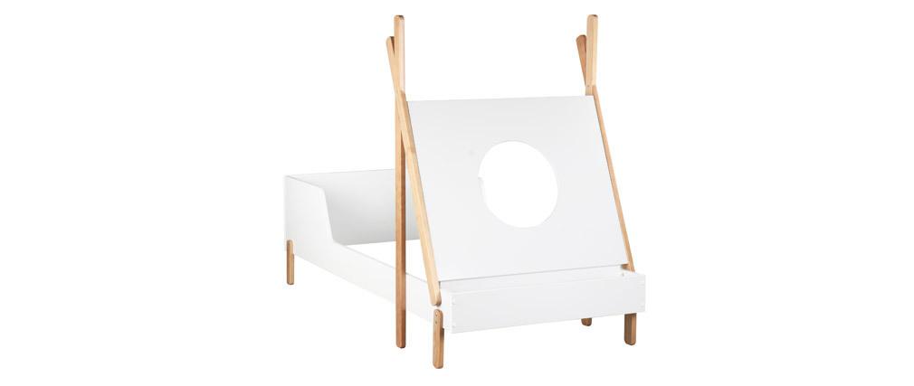 Kinderbett Boot Weiß und helles Holz TIMEHLO