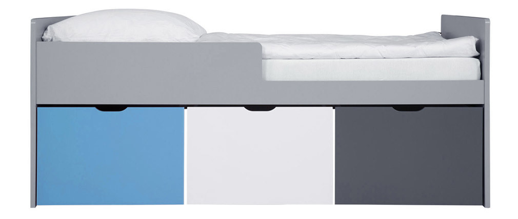 Kinderbett mit Schubladen 90x190 cm Blau, Weiß und Grau JULES