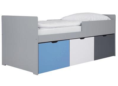Kinderbett Mit Schubladen 90x190 Cm Blau Weiß Und Grau Jules
