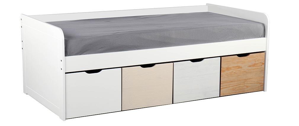 Kinderbett mit Stauraum 4 Schubladen Holz und Weiß MOLENE