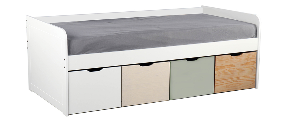 Kinderbett mit Stauraum 4 Schubladen Holz, Weiß und Grün MOLENE