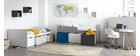 Kinderbett mit Stauraum 4 Schubladen Holz, Weiß und Rosa MOLENE
