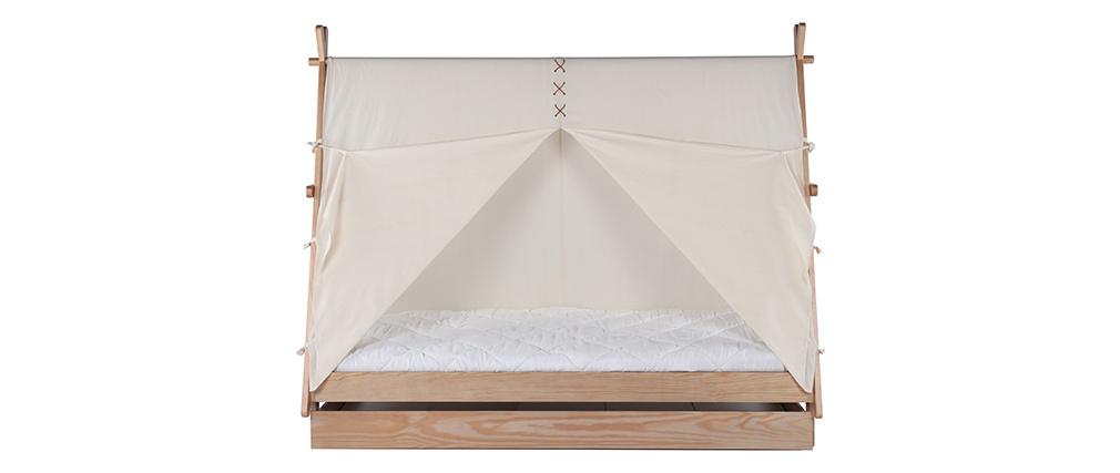 Kinderbett Tipi mit Aufbewahrung Holz und Baumwolle Naturfarben APACHE