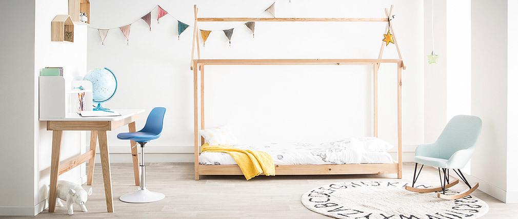 Kinderschreibtisch in Weiß und Holz, 105cm KUNG