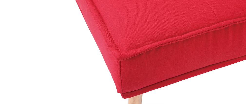 Klappsofa 3 Plätze aus rotem Stoff und Holz SHANTI