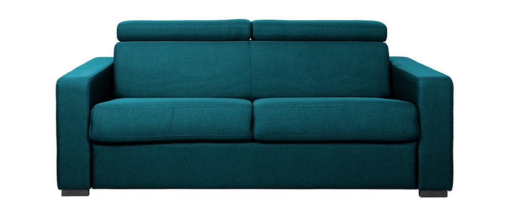 Klappsofa 3-Sitzer mit verstellbaren Kopfstützen blaugrün NORO