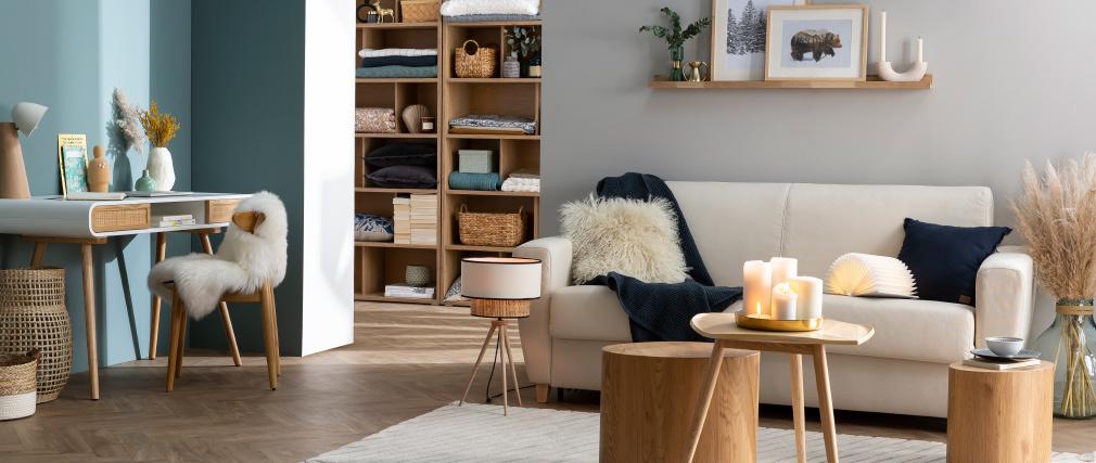 Klappsofa skandinavisch dunkelgrau und Holz GRAHAM