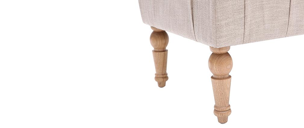 Klassische Bank, naturfarbener Stoff, Beine aus hellem Holz CASTILLE