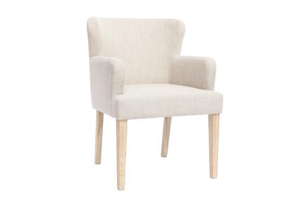 Klassischer Sessel naturfarbener Stoff helle Holzbeine RODIN