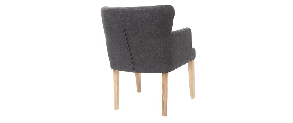 Klassischer Sessel Stoff Dunkelgrau Füße aus hellem Holz RODIN