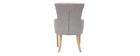 Klassischer Sessel Stoff Hellgrau Füße aus hellem Holz LAZARRE