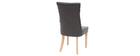 Klassischer Stuhl, dunkelgrauer Stoff, Beine aus hellem Holz VOLTAIRE