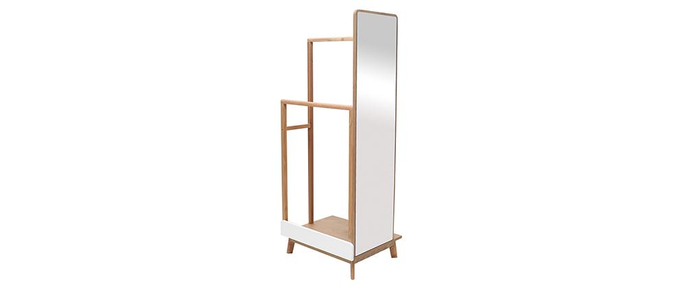 Kleiderständer mit Spiegel Helles Holz und Weiß TAYA