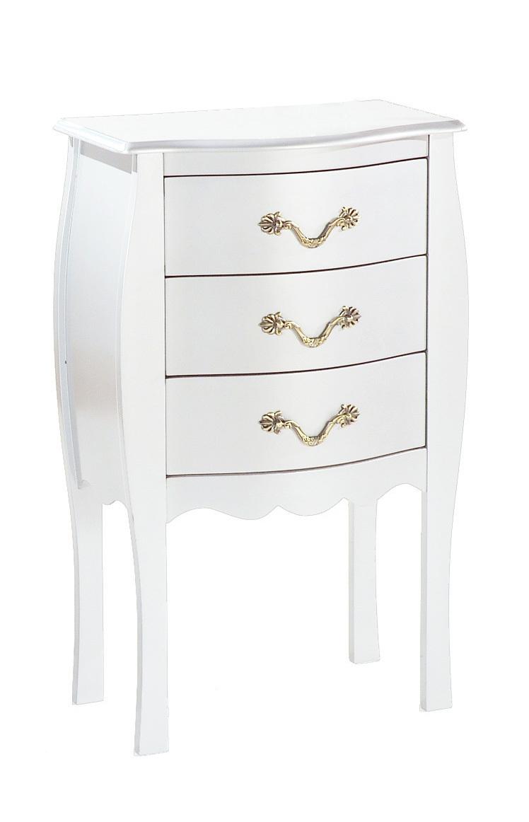 Kommode / Nachttisch im Barockstil LOUISA Weiß mit 3 Schubladen