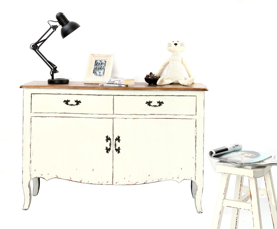 kommode rosala 2 t ren 2 schubf cher barock weiss miliboo. Black Bedroom Furniture Sets. Home Design Ideas