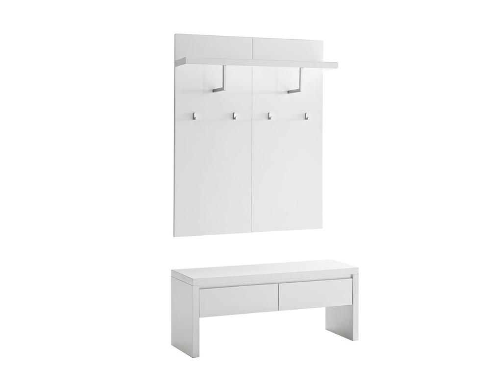 Kommode weiß lackiert mit Sitzbank 2 Schubladen und Regal ...