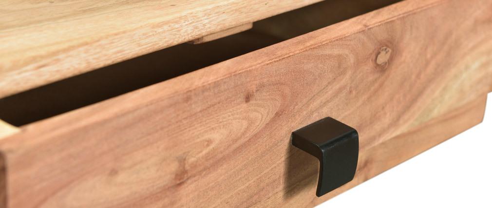 Konsole 2 Schubladen aus Akazienholz und Metall GRENELLE