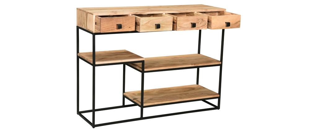 Konsole 4 Schubladen aus Akazienholz und Metall schwarz GRENELLE