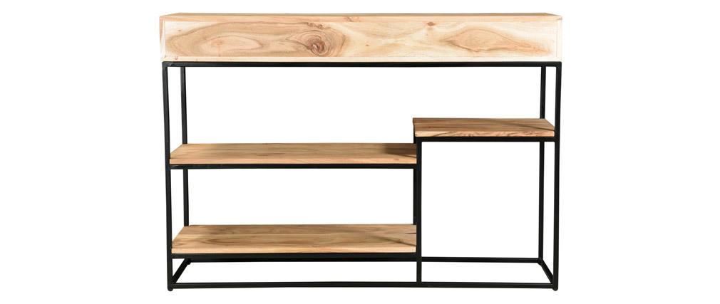 Konsole 4 Schubladen aus Akazienholz und Metall schwarz L115 cm GRENELLE