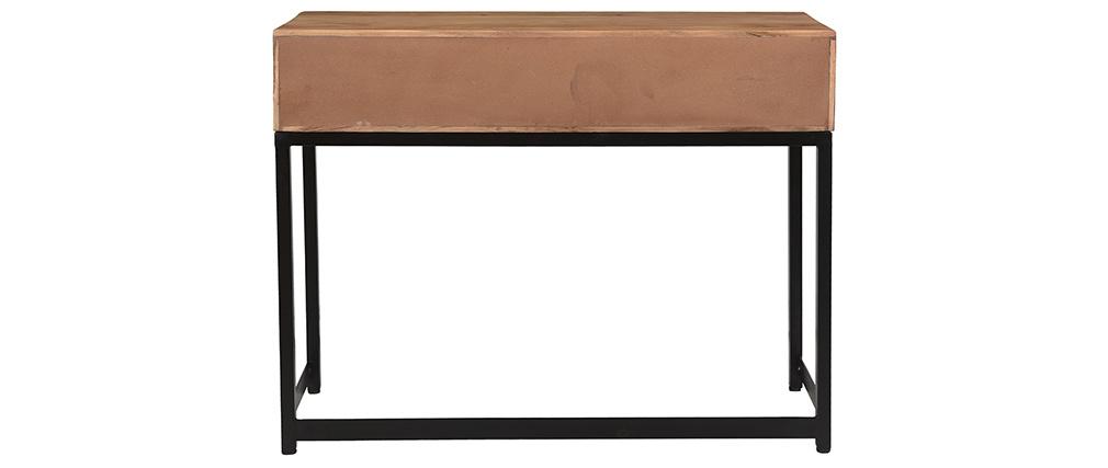 Konsole aus Akazienholz und Metall schwarz 2 Schubladen L100 cm STICK
