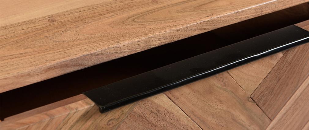 Konsole aus Akazienholz und Metall schwarz 2 Schubladen STICK