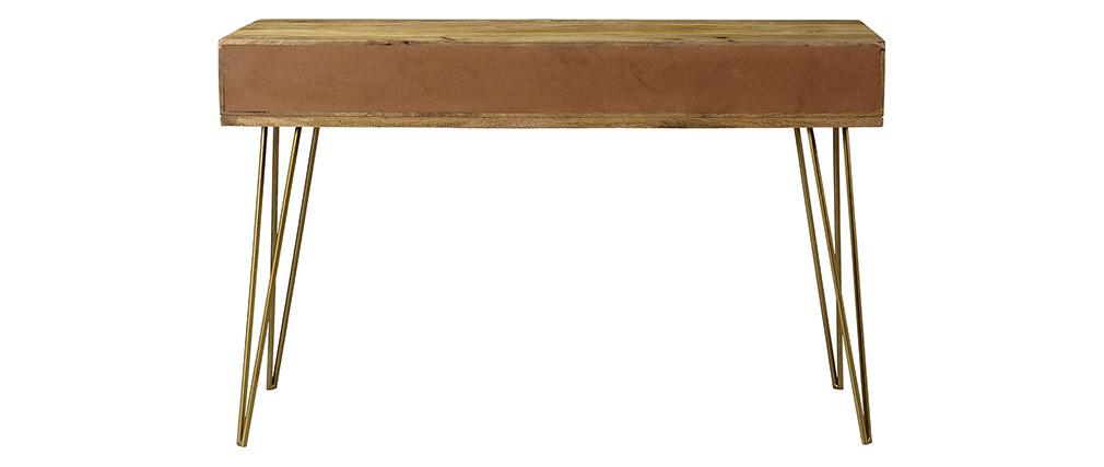 Konsole graviert aus Mangoholz und vergoldetem Metall L120 cm LINIUM