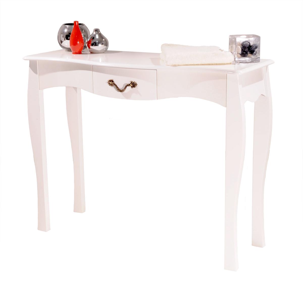 Konsole im Barockstil Louisa, Weiß, 1 Schublade, 102 cm