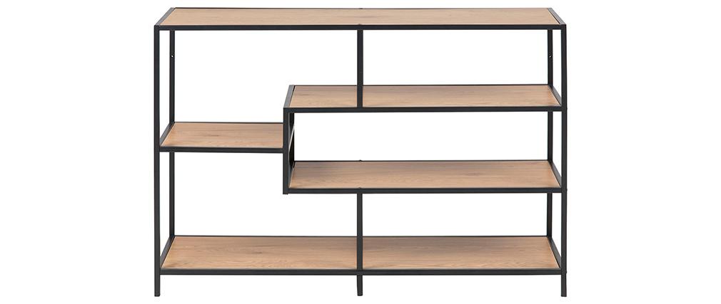 Konsole im Industrial Style aus schwarzem Metall und Holz L114 cm TRESCA