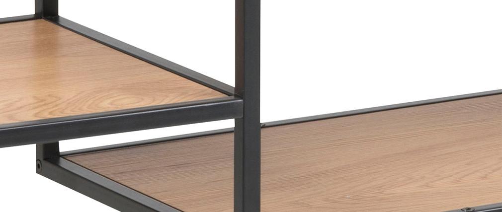 Konsole im Industrial Style aus schwarzem Metall und Holz TRESCA
