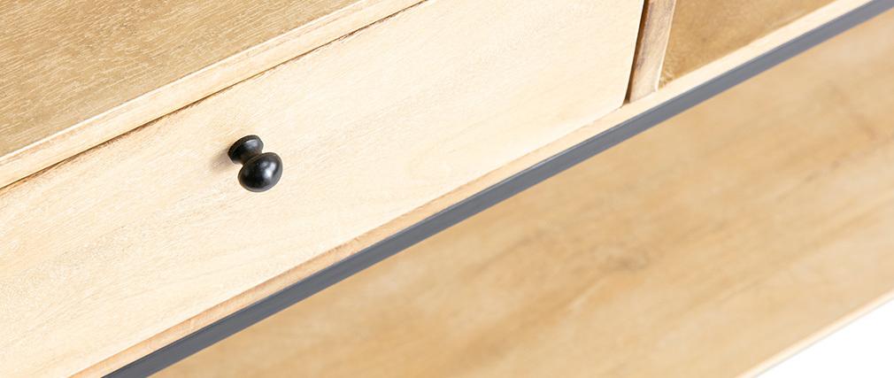 Konsole Industrie-Look aus Mangoholz und schwarzem Metall L110 cm RACK