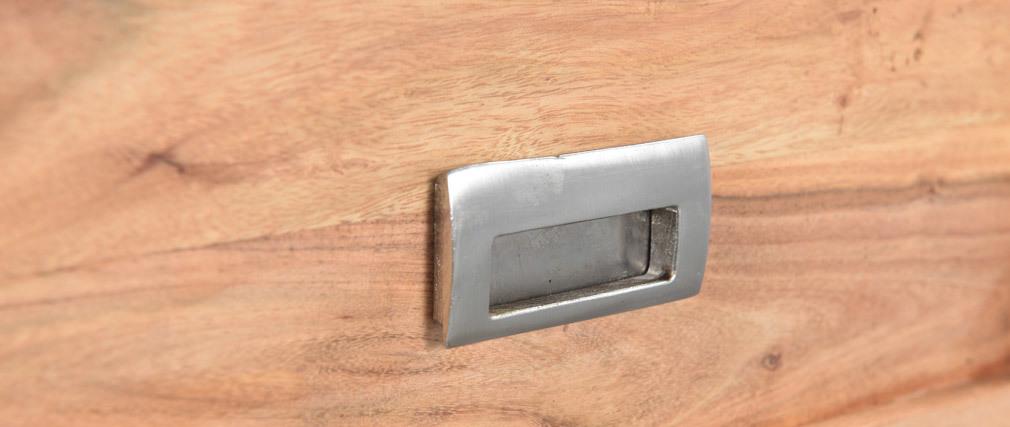 Konsole mit 2 Schubladen aus Akazienholz und schwarzem Metall EDITION
