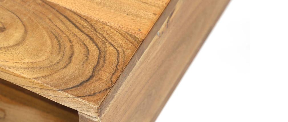Konsole mit Aufbewahrungsmöglichkeiten aus Akazienholz und schwarzem Metall ALVIN