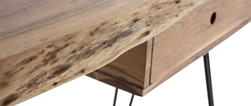 Konsole/Schreibtisch Akazie und schwarzes Metall L120 cm PINA