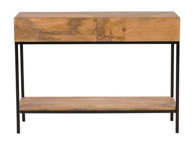 Konsolenschreibtisch Industrie-Stil Mangoholz und Metall 110 cm YPSTER