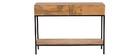 Konsolenschreibtisch Industrie-Stil Mangoholz und Metall L110 cm YPSTER