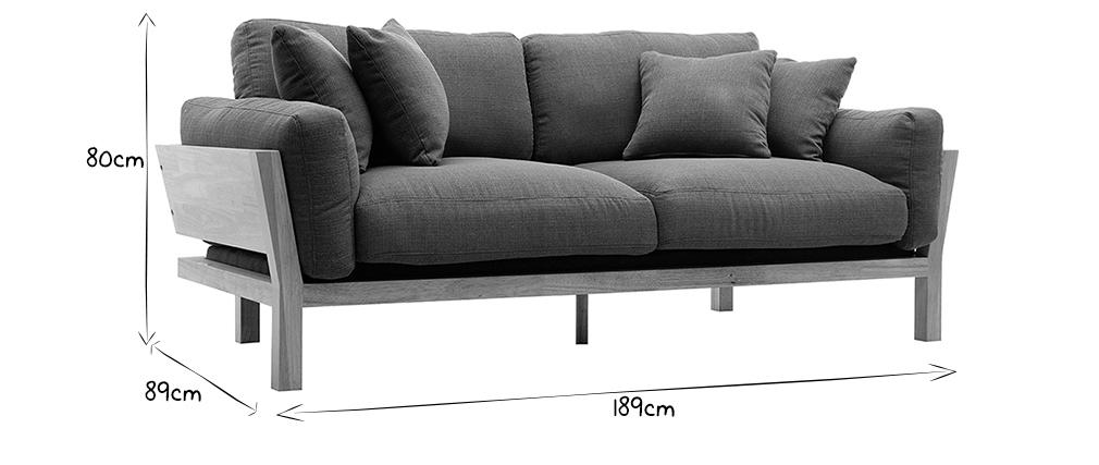 KYO Khaki skandinavisches 3-Sitzer-Sofa mit abnehmbaren Bezügen