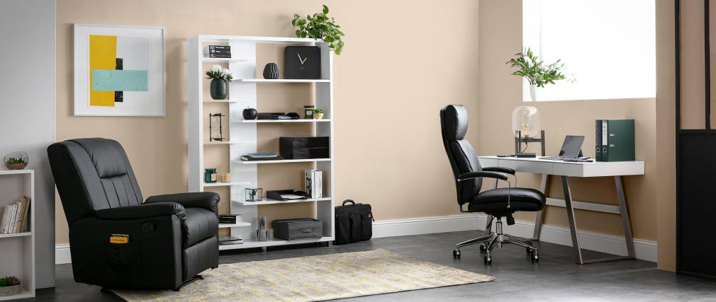 Leder-Bürosessel Grau CITY - Rindsleder