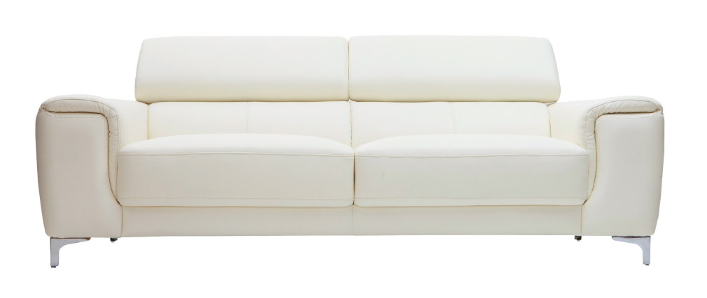 Ledersofa Design drei Plätze mit Kopfstück zur Entspannung Weiß NEVADA - Büffelleder