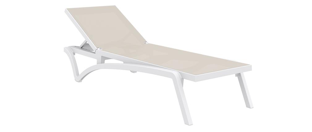 Liegestuhl Weiß und taupefarben CORAIL
