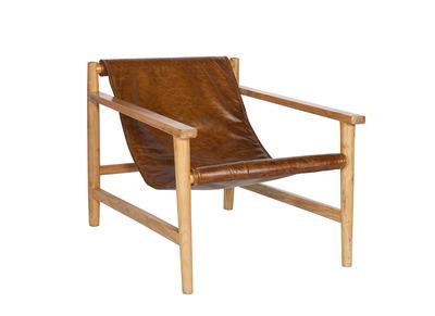 Lounge-Sessel Vintage Leder Beige GEORGES