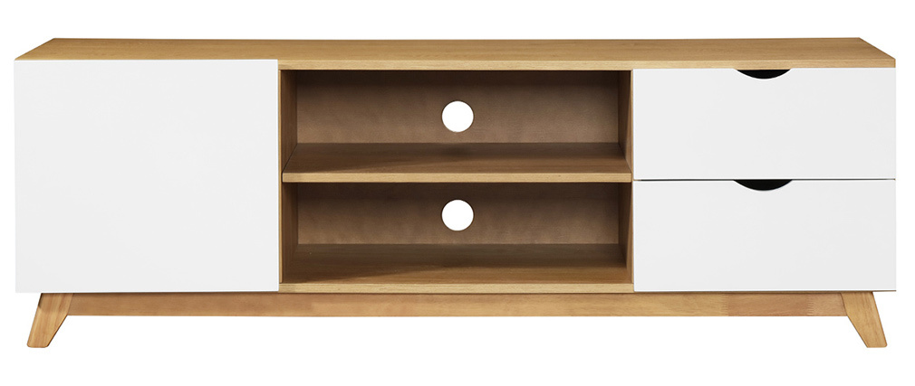 Miliboo |1| Stéphane Plaza ? TV-Möbel skandinavisch Weiß und helles Holz NEELA