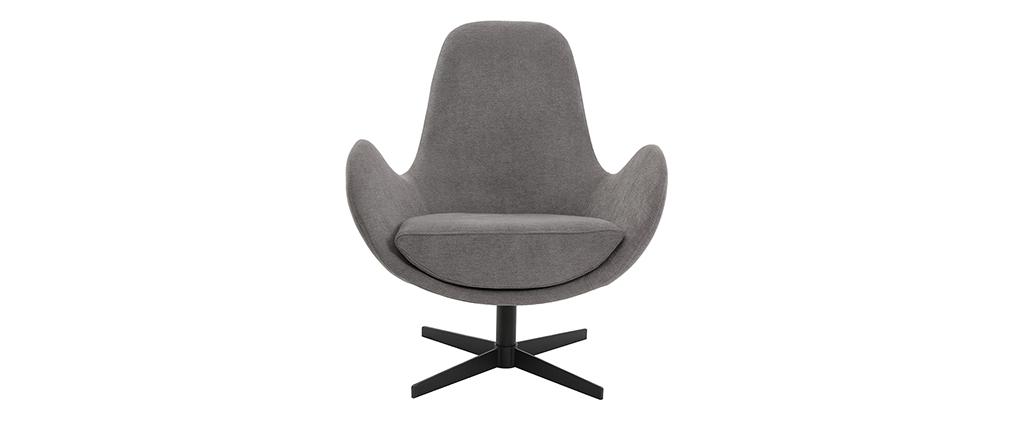 Miliboo & Stéphane Plaza - Design-Sessel Samteffekt Grau ANDY