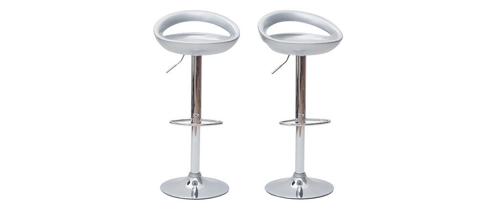 Moderner Barhocker / Küchenhocker Silber COMET (2 Stck.)