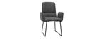 Moderner Esszimmer-Sessel aus grauem Stoff und schwarzem Metall MYST