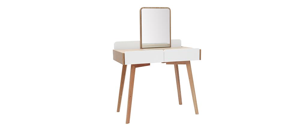 Moderner Frisiertisch mit Spiegel und Ablagefächern Weiß und Holz TAYA