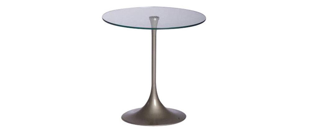 moderner kleiner runder tisch beistelltisch wiky aus metall und geh rtetem glas miliboo. Black Bedroom Furniture Sets. Home Design Ideas